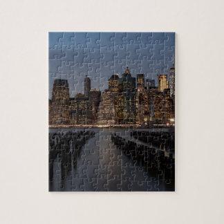 Manhattan New York at night Jigsaw Puzzle