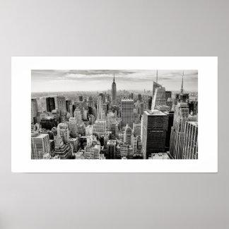 Manhattan, New York (black & white panorama) Poster