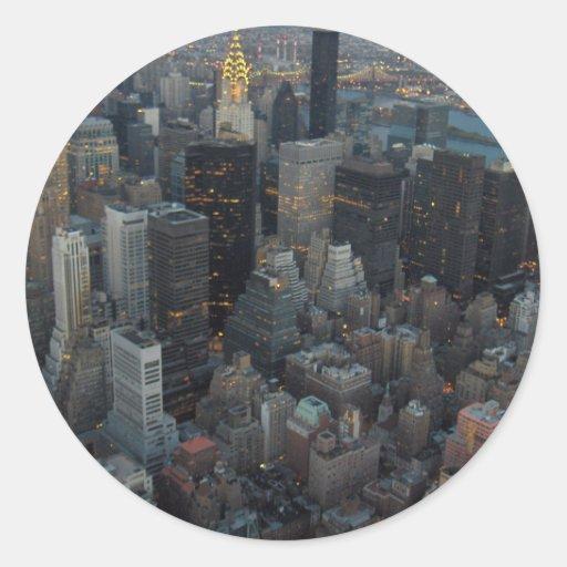 Manhattan New York City Round Sticker