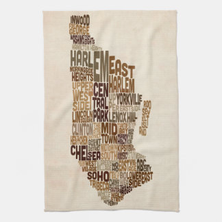 Manhattan New York Typography Text Map Kitchen Towel