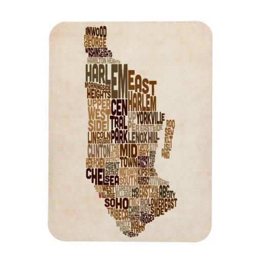 Manhattan New York Typography Text Map Vinyl Magnets