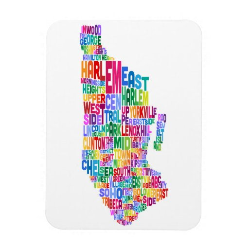 Manhattan New York Typography Text Map Vinyl Magnet