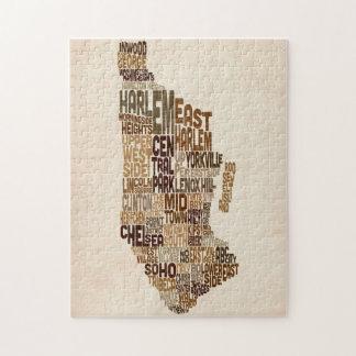 Manhattan New York Typography Text Map Puzzle
