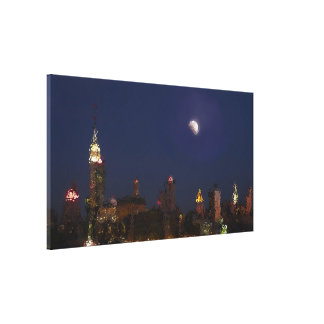 Manhattan Night Skyline Impressionist Canvas