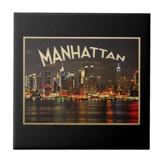 Manhattan Night Skyline Tile