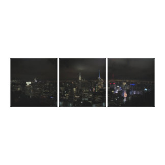Manhattan NYC at Night Split Canvas