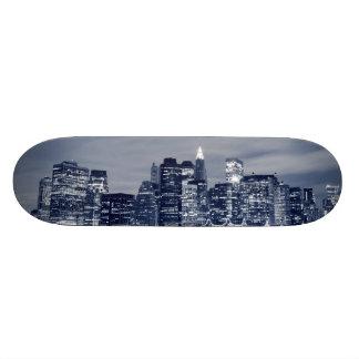 Manhattan Skyline and At Night Custom Skateboard