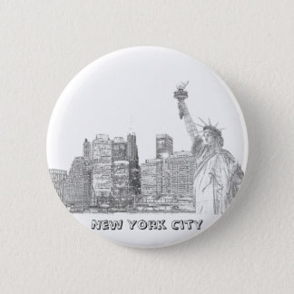 Manhattan Skyline and The Statue of Liberty 2 Inch Round Button