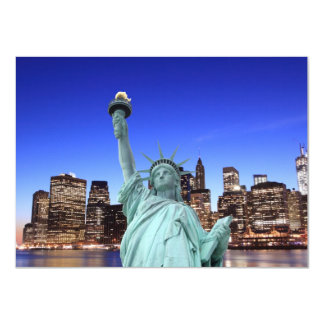 """Manhattan Skyline and The Statue of Liberty 4.5"""" X 6.25"""" Invitation Card"""