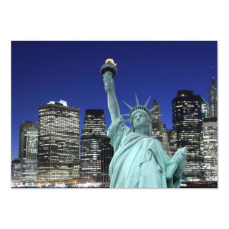 """Manhattan Skyline and The Statue of Liberty 5"""" X 7"""" Invitation Card"""