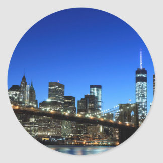 Manhattan skyline at Night Lights, New York City Classic Round Sticker