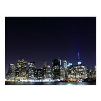 Manhattan skyline at Night Lights, New York City Postcard