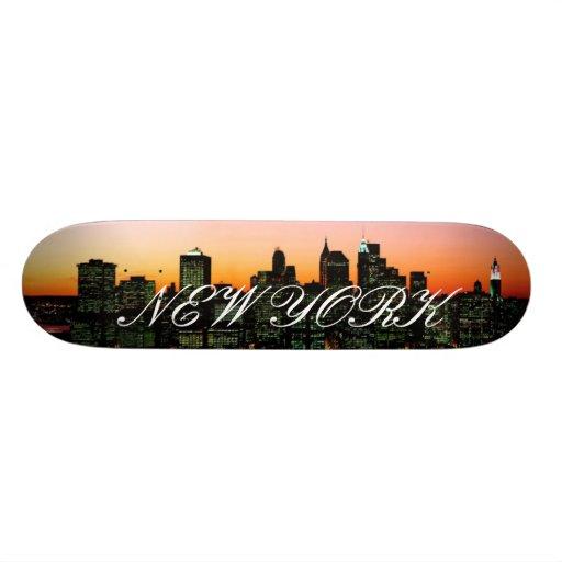 Manhattan Skyline at Twilight, New York picture... Skateboards