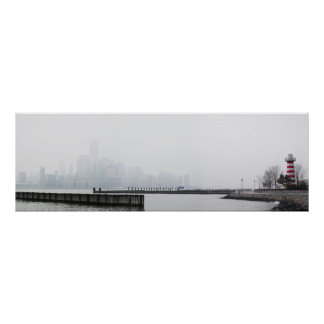 Manhattan Skyline in Fog with Lighthouse Poster