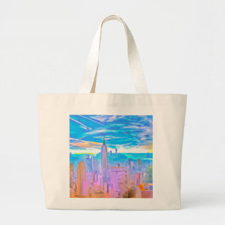 Manhattan Skyline Pop Art Large Tote Bag