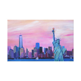 Manhattan skyline with Statue of Liberty Canvas Print
