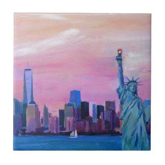 Manhattan Skyline with Statue of Liberty Ceramic Tile