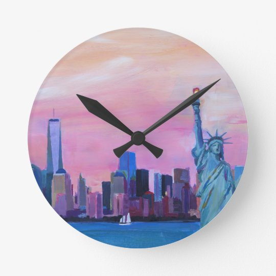 Manhattan Skyline with Statue of Liberty Round Clock
