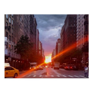 Manhattanhenge (Manhattan at Sunset) New York NYC Postcard