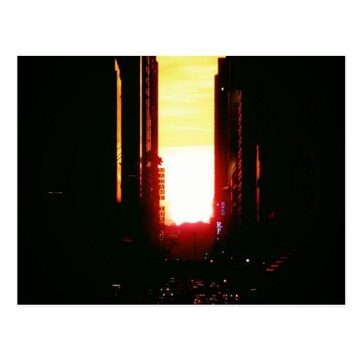 Manhattanhenge Sunset Looking Down 42nd Street Postcard