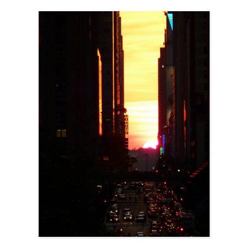 Manhattanhenge Sunset New York City Postcards