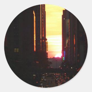 Manhattanhenge Sunset New York City Round Sticker