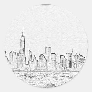 Manhatten skyline, NYC Round Sticker