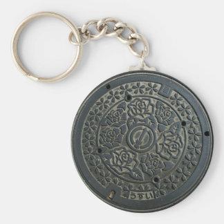 Manhole Cover 2 Basic Round Button Keychain