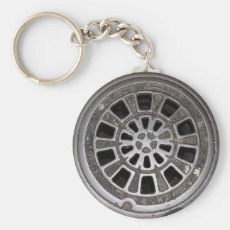 Manhole Cover Basic Round Button Keychain