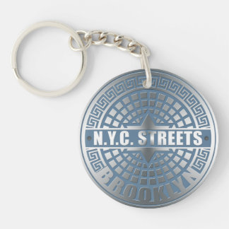 Manhole Cover Brooklyn Blue Keychain