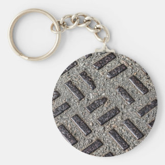 Manhole Cover Button Keychain