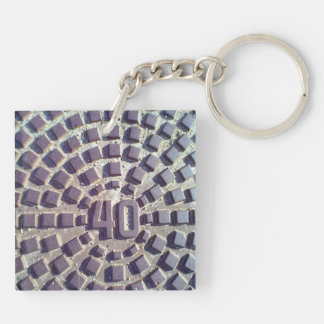 Manhole cover number 40 acrylic key chains