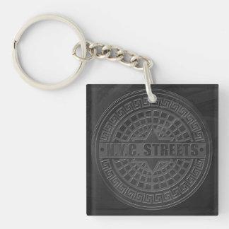 Manhole Covers Black Marble Square Acrylic Keychain