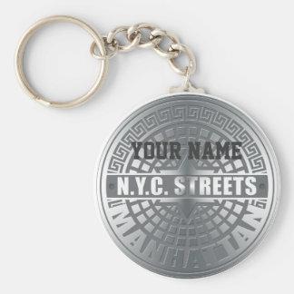 Manhole Covers Manhattan Basic Round Button Keychain