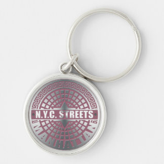 Manhole Covers Manhattan Silver-Colored Round Keychain