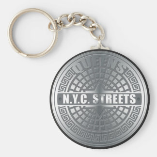Manhole Covers Queens Basic Round Button Keychain