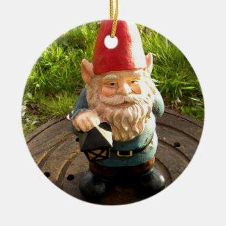 Manhole Gnome Round Ceramic Ornament
