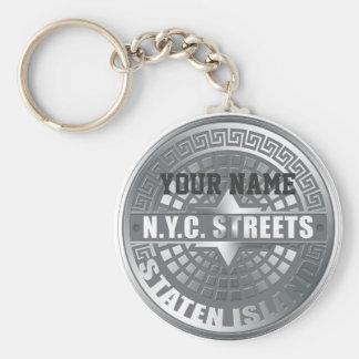Manhole Staten Island Gray Keychain