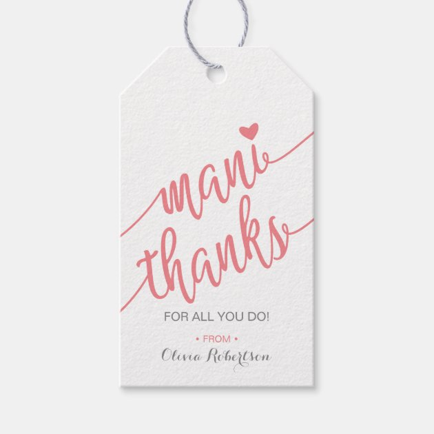image relating to Mani Thanks Free Printable called Mani Because of Thank By yourself Tag, Manicure Tag, Purple Present Tags Zazzle.ca