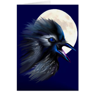Manic Raven with Moon  Card