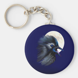 Manic Raven with Moon  Keychain