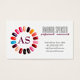 Manicure Colorful Nail Circle White Business Card