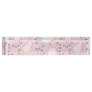 Manicured Hands Nail Studio Pink Pastel Pattern Nameplate