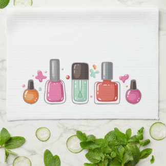 Manicurist nail artist nail polish beauty salon kitchen towel