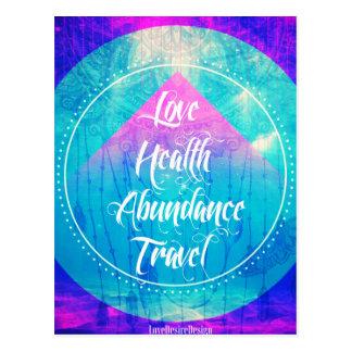 Manifesting Love Health Abundance Travel series Postcard