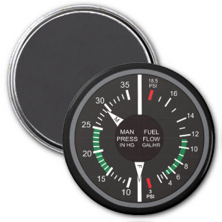 Manifold Pressure and Fuel Flow Airplane Dashboard 3 Inch Round Magnet