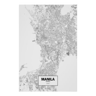 Manila, Philippines (black on white) Poster