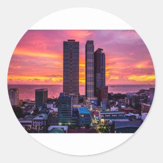 Manila Philippines Skyline Classic Round Sticker
