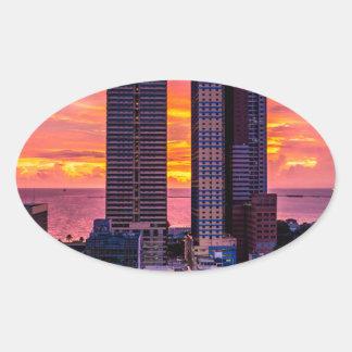Manila Philippines Skyline Oval Sticker