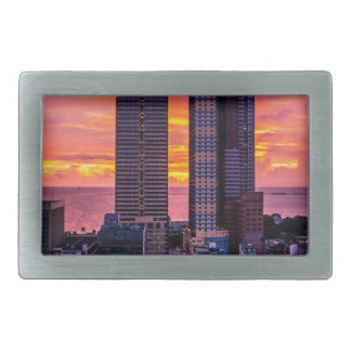 Manila Philippines Skyline Rectangular Belt Buckle